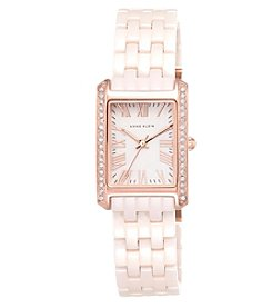 Anne Klein® Rectangular Blush Ceramic Bracelet Watch