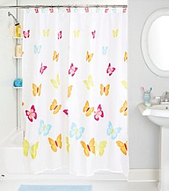 Bath Bliss Butterfly Shower Curtain and Hook Set