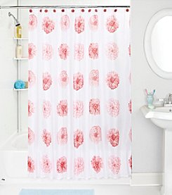 Bath Bliss Pink Flower Shower Curtain and Hook Set