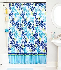 Bath Bliss Blue Butterfly Shower Curtain and Hook Set