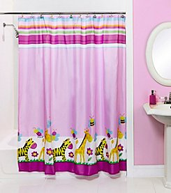 Bath Bliss Giraffe and Zebra Shower Curtain and Hook Set