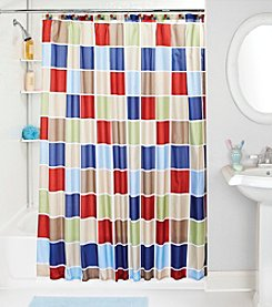 Bath Bliss Colored Tile Shower Curtain and Hook Set