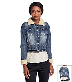 Wallflower® Sherpa Collar And Cuff Denim Jacket