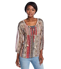 Hippie Laundry Geo Print Peasant Top