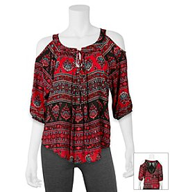 A. Byer Paisley Stripe Peasant Top