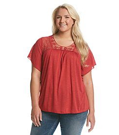 Living Doll® Plus Size Flutter Peasant Top