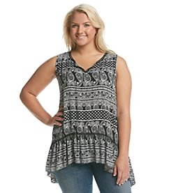 Living Doll® Plus Size Bandana Print Peasant Tank