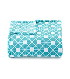 LivingQuarters Turquoise Geometric Micro Cozy Throw