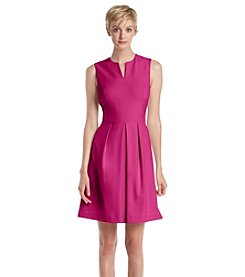 Andrew Marc® Split Neck Fit And Flare Dress