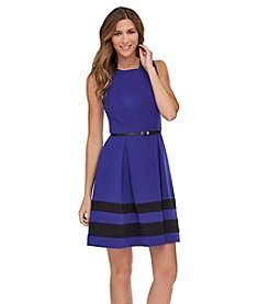 Calvin Klein Sleeveless Stripe Fit And Flare Dress