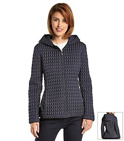 Anne Klein® Short Hooded Popcorn Quilted Coat