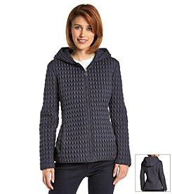 Anne Klein® Short Hooded Popcorn Quilted Coat