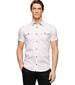 Calvin Klein Men's Short Sleeve Birdseye Dobby Button Down