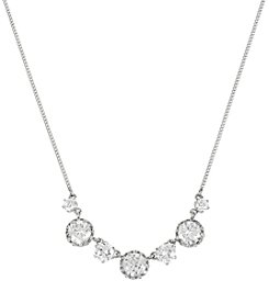 Betsey Johnson® Ruffled Faceted Stone Frontal Silvertone Necklace