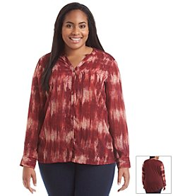 Relativity® Plus Size Long Sleeve Brushstroke Tunic
