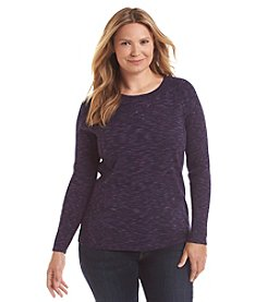 Relativity® Plus Size Spacedye Crew Neck Ribbed Sweater
