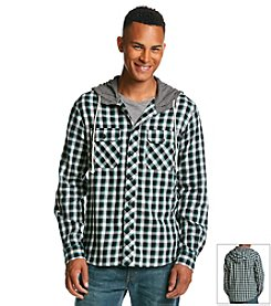 Lazer™ Men's Flannel Plaid Hoodie Button Down