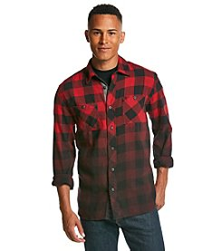 Lazer Men's Long Sleeve Dip Dye Plaid Flannel Shirt