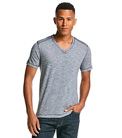 DKNY JEANS® Men's Short Sleeve Slub Feeder Stripe V-Neck