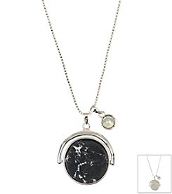 Anne Klein® Silvertone Long Stone Pendant Necklace