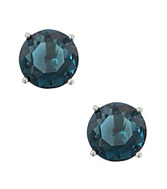 Anne Klein® Silvertone And Blue Stud Earrings