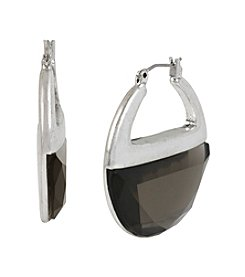 Kenneth Cole® Silvertone Faceted Hoop Earrings