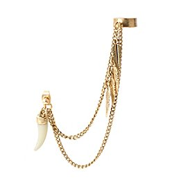 Steve Madden® Goldtone Horn Drop & Multi Chain Cuff Earring