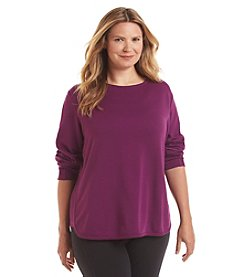Exertek® Plus Size Reverse French Terry Crew Top