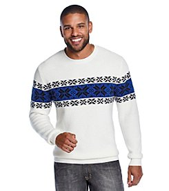John Bartlett Consensus Men's Long Sleeve Snowflake Chest Crewneck Sweater