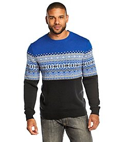 John Bartlett Consensus Men's Long Sleeve Placed Fair Isle Crewneck Sweater