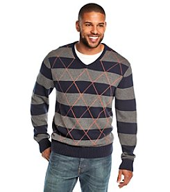 John Bartlett Consensus Men's Long Sleeve Rugby Stripe V-Neck Sweater