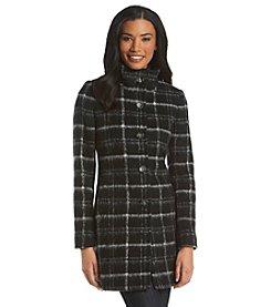 DKNY® Single-Breasted Plaid Coat