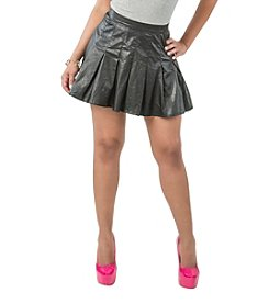 Poetic Justice® Vegan Pu Leather Pleated Mini Skirt
