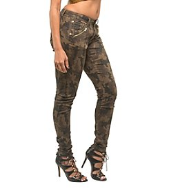 Poetic Justice Maya Camo Skinny Jean With Zip Pockets