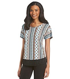 Notations® Multi Stripe Fringe Tunic