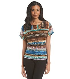 Notations® Printed Burnout Layered Look Top