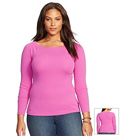 Lauren Ralph Lauren® Plus Size Cotton Ballet-Neck Shirt