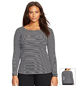 Lauren Ralph Lauren® Plus Size Striped Ballet-Neck Shirt