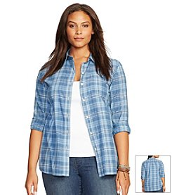 Lauren Jeans Co.® Plus Size Striped Cotton Shirt