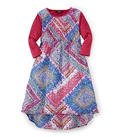 Chaps® Girls' 7-16 Printed High Low Dress