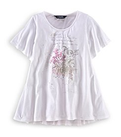 Chaps® Girls' 7-16 Flutter Sleeve Graphic Top
