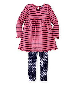 Chaps® Girls' 2T-4T Striped Tunic Dress With Dot Leggings
