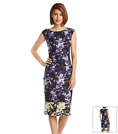 S.L. Fashions Scuba Midi Sheath Dress