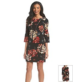 AGB® Floral Shift Dress With Necklace