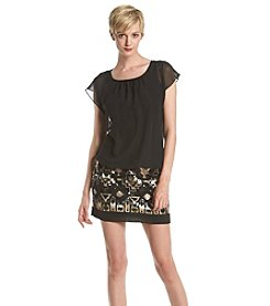 AGB® Chiffon Top Beaded Skirt Dress