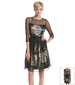 S.L. Fashions® Long Sleeve Illusion Flare Dress