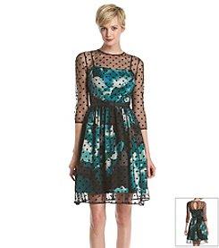 Eliza J® Three-Quarter Length Sleeve Overlay Dress