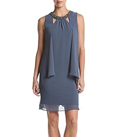 S.L. Fashions Cutout Shift Dress With Beaded Neckline