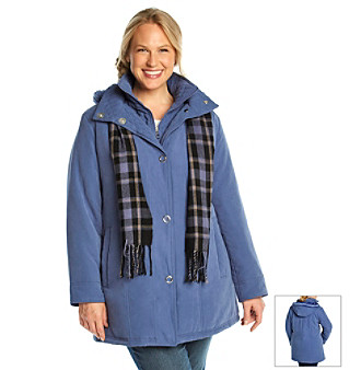 Breckenridge® Plus Size Bib Coat With Scarf plus size,  plus size fashion plus size appare