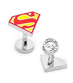 DC Comics Men's Enamel Superman Shield Cufflinks